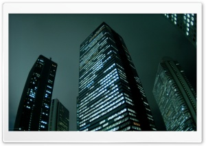 City Skyscrapers Night HD Wide Wallpaper for Widescreen