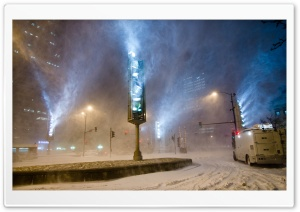 City Snow Storm HD Wide Wallpaper for Widescreen