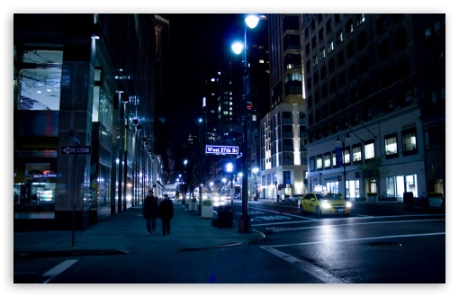 Download City Street Night HD Wallpaper