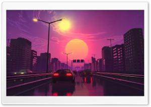 City Sunset Illustration Ultra HD Wallpaper for 4K UHD Widescreen desktop, tablet & smartphone