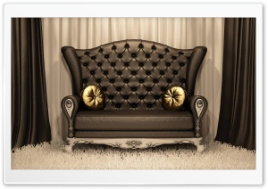 Classic Black Sofa HD Wide Wallpaper for Widescreen