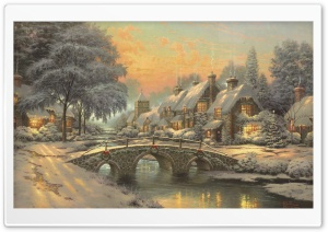 Classic Christmas Painting by Thomas Kinkade HD Wide Wallpaper for 4K UHD Widescreen desktop & smartphone