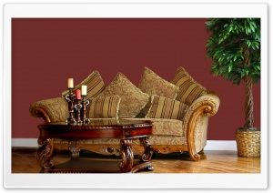 Classic Sofa With Pillows HD Wide Wallpaper for Widescreen
