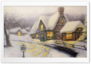 Classic Winter Painting HD Wide Wallpaper for Widescreen