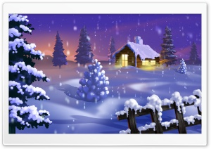 Classic Winter Scene Painting HD Wide Wallpaper for Widescreen