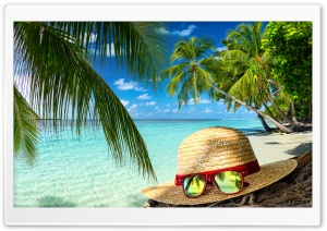 Clear Sea Water, Beach Hat and Sunglasses, Palm Trees HD Wide Wallpaper for Widescreen
