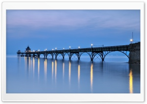 Clevedon Pier at Dusk Ultra HD Wallpaper for 4K UHD Widescreen desktop, tablet & smartphone