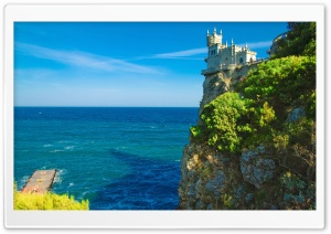 Cliff Top Castle Swallows Nest Crimea HD Wide Wallpaper for 4K UHD Widescreen desktop & smartphone