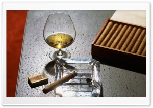 Close-Up Of Cognac Glass And Cigars HD Wide Wallpaper for Widescreen
