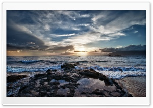 Clouds Above The Sea, Sunset HD Wide Wallpaper for Widescreen