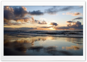Clouds Reflecting Off The Beach HD Wide Wallpaper for Widescreen