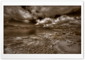 Cloudy Landscape Sepia HD Wide Wallpaper for Widescreen