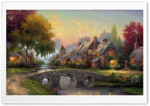 Cobblestone Bridge by Thomas Kinkade HD Wide Wallpaper for 4K UHD Widescreen desktop & smartphone