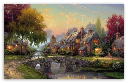 Cobblestone Bridge by Thomas Kinkade HD wallpaper for Wide 16:10 5:3 Widescreen WHXGA WQXGA WUXGA WXGA WGA ; HD 16:9 High Definition WQHD QWXGA 1080p 900p 720p QHD nHD ; Standard 4:3 5:4 3:2 Fullscreen UXGA XGA SVGA QSXGA SXGA DVGA HVGA HQVGA devices ( Apple PowerBook G4 iPhone 4 3G 3GS iPod Touch ) ; Tablet 1:1 ; iPad 1/2/Mini ; Mobile 4:3 5:3 3:2 16:9 5:4 - UXGA XGA SVGA WGA DVGA HVGA HQVGA devices ( Apple PowerBook G4 iPhone 4 3G 3GS iPod Touch ) WQHD QWXGA 1080p 900p 720p QHD nHD QSXGA SXGA ; Dual 5:3 4:3 5:4 WGA UXGA XGA SVGA QSXGA SXGA ;