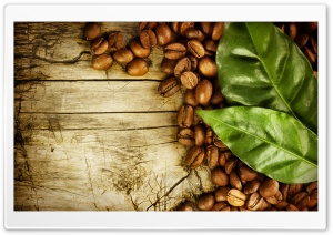 Coffee Beans And Leaves HD Wide Wallpaper for Widescreen