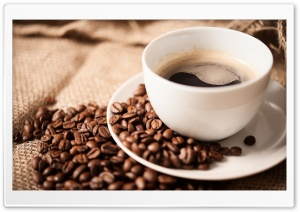 Coffee Beans White Cup HD Wide Wallpaper for Widescreen
