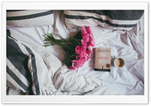 Coffee, Bed, Book, Peonies Flowers HD Wide Wallpaper for 4K UHD Widescreen desktop & smartphone