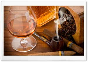 Cognac and Cigar HD Wide Wallpaper for Widescreen