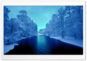 Cold Blue Winter River HD Wide Wallpaper for Widescreen