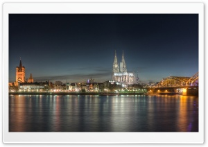 Cologne at Night HD Wide Wallpaper for Widescreen