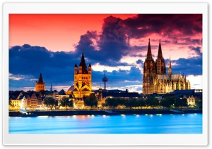 Cologne Cathedral At Dusk HD Wide Wallpaper for 4K UHD Widescreen desktop & smartphone