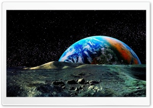Colored Earth View From The Moon HD Wide Wallpaper for Widescreen