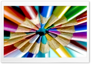 Colored Pencils Circle HD Wide Wallpaper for Widescreen