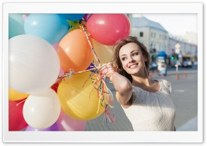 Colorful Balloons, Happy Girl Smiling, City HD Wide Wallpaper for 4K UHD Widescreen desktop & smartphone