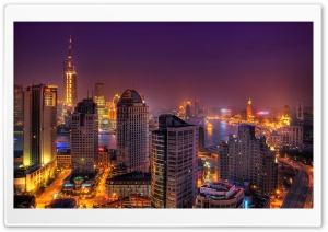 Colorful City Lights At Night HD Wide Wallpaper for Widescreen