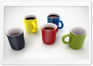 Colorful Coffee Mugs 3D HD Wide Wallpaper for Widescreen