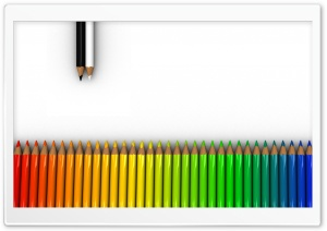 Colorful Crayons White Rainbow Dual Monitor HD Wide Wallpaper for Widescreen