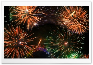 Colorful Fireworks Around The London Eye London New Years Eve HD Wide Wallpaper for Widescreen