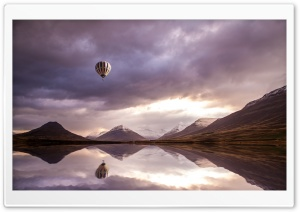 Colorful Hot Air Balloon Over Water HD Wide Wallpaper for 4K UHD Widescreen desktop & smartphone