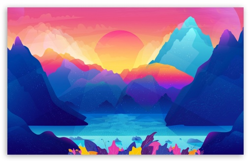 Colorful Landscape Illustration Ultra Hd Desktop Background