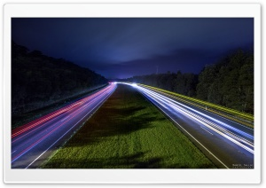 Colorful Light Trails at Night HD Wide Wallpaper for Widescreen