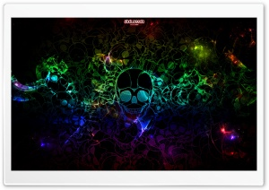 Colorful Skulls Black HD Wide Wallpaper for Widescreen