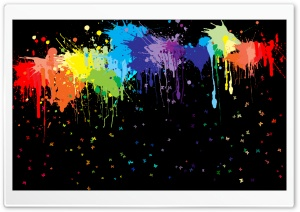 Colorful Splashs Black HD Wide Wallpaper for Widescreen