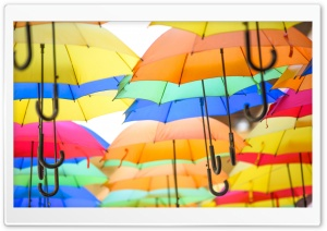 Colorful Umbrellas in the Air HD Wide Wallpaper for 4K UHD Widescreen desktop & smartphone