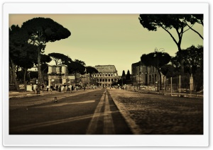 Colosseum Street, Rome, Italy HD Wide Wallpaper for Widescreen