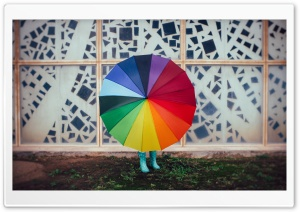 Colourful Rainbow Umbrella, Rain, Child Girl HD Wide Wallpaper for 4K UHD Widescreen desktop & smartphone