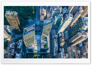 Columbus Circle, New York City, Aerial View HD Wide Wallpaper for 4K UHD Widescreen desktop & smartphone