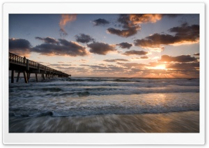Concrete Pier, Sunset HD Wide Wallpaper for Widescreen
