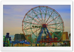 Coney Island Ferris Wheel HD Wide Wallpaper for 4K UHD Widescreen desktop & smartphone