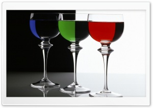 Contrasts In Rgb Three Glasses Filled With Blue Green And Red Liquids HD Wide Wallpaper for Widescreen