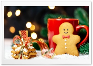 Cookies, Gingerbread Man, Red Mug, Christmas Ultra HD Wallpaper for 4K UHD Widescreen desktop, tablet & smartphone