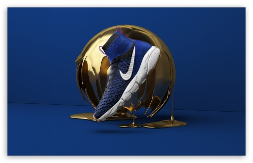 Cool Nike Shoes Golden Ball Blue Background 4k Hd