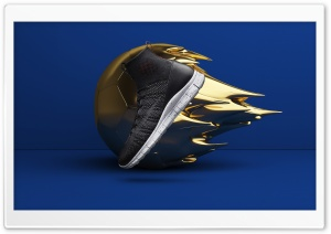 Cool Shoe Design, Golden Ball, Blue Background HD Wide Wallpaper for 4K UHD Widescreen desktop & smartphone