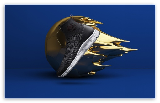 Cool Shoe Design, Golden Ball, Blue