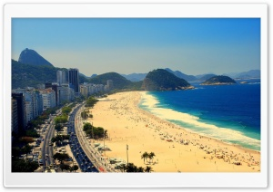 Copacabana Beach, Aerial View Of Rio de Janeiro, Brazil HD Wide Wallpaper for Widescreen