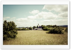 Country Church in a Rural Landscape HD Wide Wallpaper for 4K UHD Widescreen desktop & smartphone